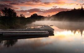 Пирс, река, туман, утро, облака, деревья