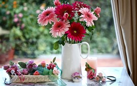 Preview wallpaper Pink and red gerbera flowers, roses, vase