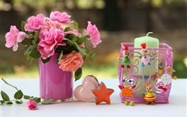Pink roses, love heart, star, toys, candle