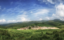 Preview wallpaper Qinyuan, mountains, windmill, village, countryside, China