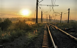 Preview wallpaper Railroad, track, sunrise, morning, fog