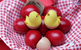 Preview wallpaper Red Easter eggs, chicks