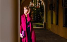 Preview wallpaper Red coat girl, look, waiting