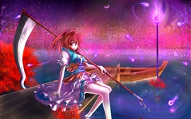 Preview wallpaper Red hair anime girl, boat, pier, magic, night