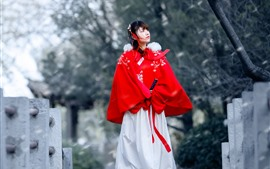 Preview wallpaper Retro style Chinese girl, hanfu, bridge
