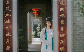 Preview wallpaper Retro style girl, hanfu, fan, gate
