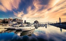 Aperçu fond d'écran Rivière, bateaux, pont, ville