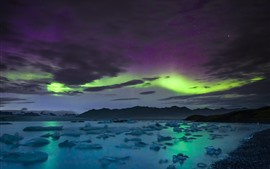 Preview wallpaper Starry, sky, northern lights, clouds, sea, mountains, Iceland