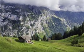 Switzerland, slope, green, mountains, house, clouds
