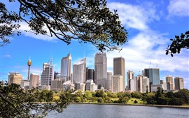 Preview wallpaper Sydney, Australia, lake, trees, skyscrapers
