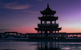 Preview wallpaper Tongyi Jiayuan, lake, gazebo, moon, Wuxi, China