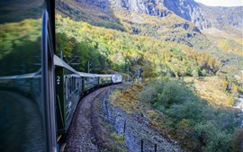 Preview wallpaper Train, mountains, Norway