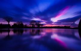 Деревья, силуэт, озеро, ночь, облака, небо