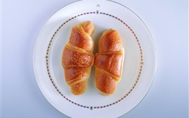 Preview wallpaper Two croissants, plate
