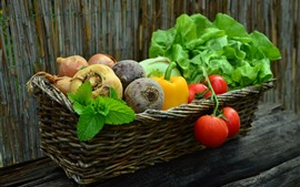 Preview wallpaper Vegetables, basket, tomatoes, carrot, pepper, onion