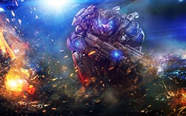 Preview wallpaper Warrior, weapon, armor, fire, art picture