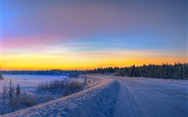 Preview wallpaper Winter, snow, forest, sunset, sky