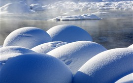 Inverno, neve, pedras, Kanas, Xinjiang, China