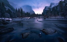 Preview wallpaper Yosemite National Park, river, mountains, snow, winter