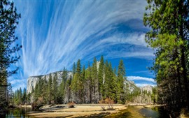 Preview wallpaper Yosemite National Park, trees, river, blue sky, clouds