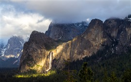 Preview wallpaper Yosemite National Park, waterfall, fog, clouds, cliff