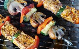 Churrasco, carne, vegetais