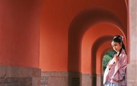 Beautiful young girl, retro style, arch, corridor