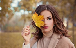 Preview wallpaper Brown hair girl, yellow leaf