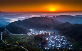 Preview wallpaper China, countryside, village, top view, mountains, sunset
