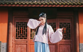 Preview wallpaper Chinese girl, retro style, pose, house