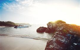 Coast, stones, sea, boats, sunshine