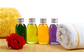 Preview wallpaper Colorful oil, towel, rose, SPA