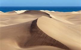 미리보기 배경 화면 사막, 푸른 바다