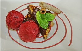 Dessert, sherbet, ice cream ball