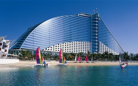 Dubai, beach, hotel, sailboat, sea