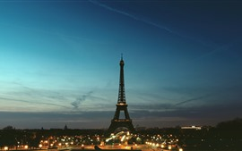 Preview wallpaper Eiffel Tower, Paris, night, lights, city, France