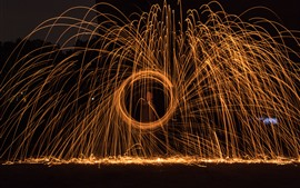 Preview wallpaper Fireworks, sparks, circle, night