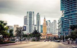 Flórida, Miami, cidade, arranha-céus, EUA