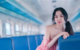 壁紙のプレビュー 髪型の電車の中で女の子