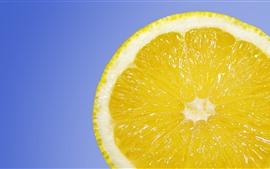 壁紙のプレビュー レモンスライス、青色の背景