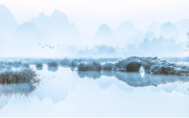Preview wallpaper Mountains, river, bridge, birds, fog, morning