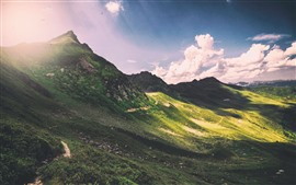 Mountains, slope, sunshine, clouds, sun rays