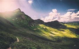 Горы, склон, солнце, облака, солнечные лучи