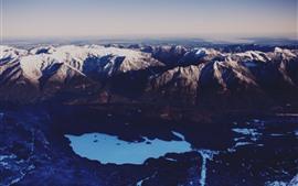 Горы, снег, озеро, зима, вид сверху