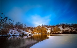 Mountains, snow, river, trees, winter, blue sky