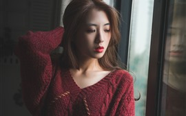 Preview wallpaper Pure girl stand at window side, red sweater