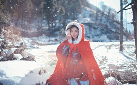 Preview wallpaper Red coat, girl, snow, winter