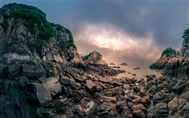 Preview wallpaper Rocks, stones, sea, clouds, sun, Xiangshan, Hualiu Island, China