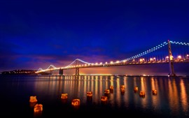 Preview wallpaper San Francisco, night, bridge, river, lights, USA