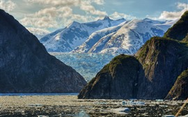 Sea, snow, mountains, glacier